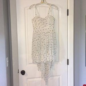 High-Low White Polka Dot Dress